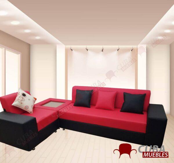 Esquinero Pretty Negro y Rojo